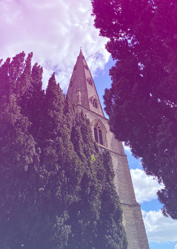 The spire of St Peter and St Paul's Church in Olney